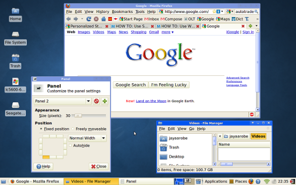 Screenshot of Xubuntu with Firefox running.