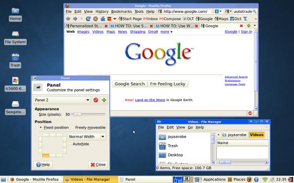 Screenshot of Xubuntu with Firefox running.